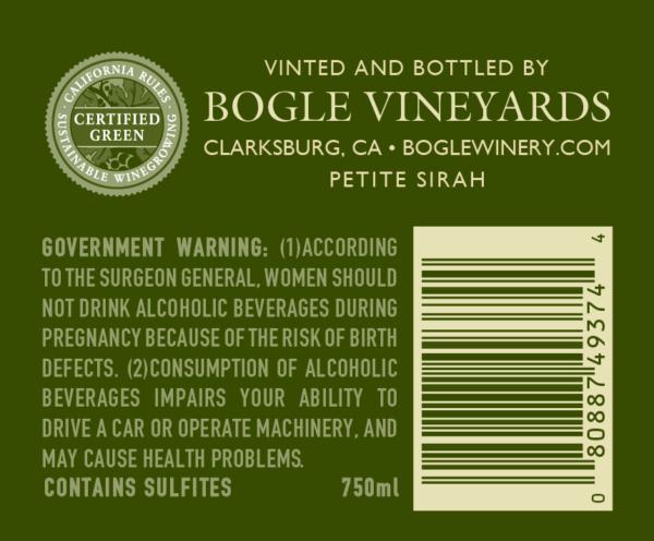etiket achterkant Petite sirah bogle vineyards