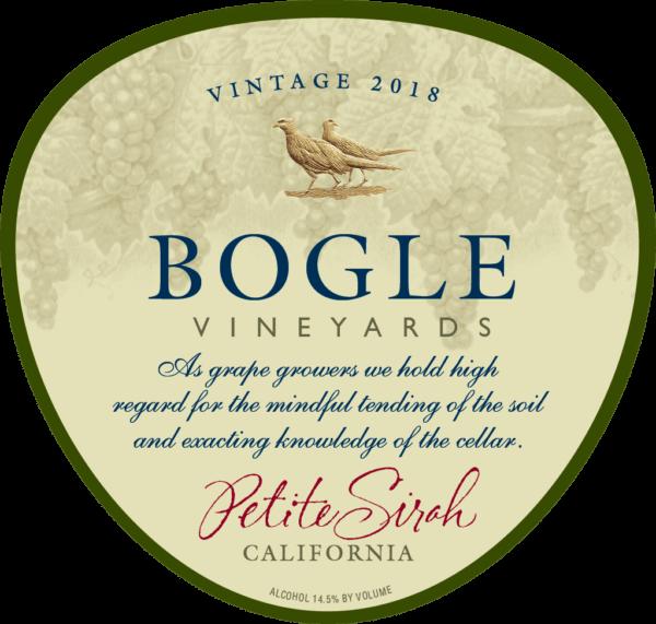 etiket voorkant Petite sirah bogle vineyards